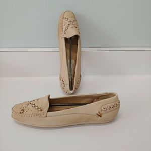 NOS Vintage Leather Beaded Tan Moccasins 8…